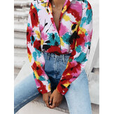 Women Colorful Tie-Dye Print Lapel Button Up Loose Fit Long Sleeve Shirts