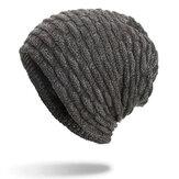 ErkeklerKadınÖzelŞeritPlusKadife Örme Şapka Bere Kapaklar