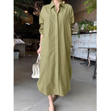 Women Brief Style Solid Color Turn-Down Collar Long Sleeve Casual Shirt Dress