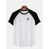 Men Casual Lightning Print Raglan Sleeves T-Shirts