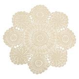 Kézi horgolt csipke virágos szalvéta asztali kendő pamut kerek 70 cm bézs kerek asztal fedél