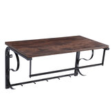 Wall-mounted Hook Rack Industrial Wall-mounted Shelf Rack with Hanging Rail Living Room Kitchen Bedroom