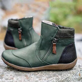 Plus Size Women Casual Splicing Round Toe Side Zipper Flat Ankle Boots