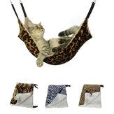 زيبرا نمط دافئ معلق سرير للقطط حصيرة Soft القط الشتاء أرجوحة القط الحيوانات الأليفة قفص السرير غطاء وسادة