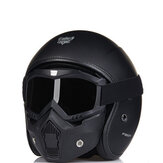 BEON Retro Motorcycle Matte Black Helmet Safety Male With Goggles