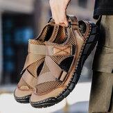 Mænds kuskindstørrelse, stor åndbar Soft, ikke-glide sandaler i bunden