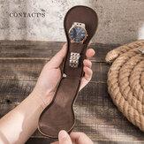 Homens Couro Genuíno Relógio de Viagem Retro Bolsa Moda Criativa Relógio de Armazenamento Bolsa