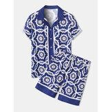 Мужской синий барокко принт Revere воротник с коротким рукавом Рубашка и шорты коорды комплекты из двух частей