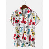 Heren grappige cartoon print casual shirts met korte mouwen