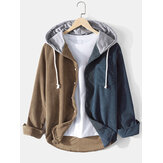 Mens Corduroy Contrast Patchwork Casual Long Sleeve Drawstring Hooded Shirts