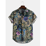 Banggood Special Offers Cotton Vintage Style oriental Floral Print Lapel Collar Casual Short Sleeve Shirts