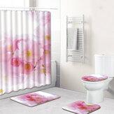4szt.KwiatowyzestawłazienkowyAntypoślizgowywykładzina dywanowa Pokrywka toaletowa Mata łazienkowa Zasłony prysznicowe