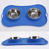 Ciotola per cani in acciaio inox Non fuoriuscita Silicone Mat Pet Alimentatore per alimenti con acqua