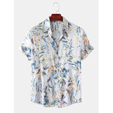 Hommes Color Block Feuilles Imprimé floral Turn Down Collar Hawaii Style Chemises à manches courtes