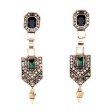 Retro Emerald Diamond Ear Drop Earring
