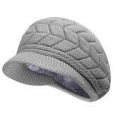 Women Ladies Crochet Knitted Cotton Blend Beret Hat Soft Warm Plush Linen Ski Baseball Cap