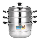 28 / 32cm 3 Tier غير القابل للصدأ Steam Steamer Cookware Steam Pot Set Kitchen Cooking Tools