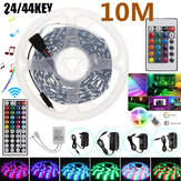 2 * 5M Nicht wasserdichtes RGB LED Strip Light 5050 SMD Flexibles Klebeband Full Kit + 24 / 44Key Fernbedienung + Stecker DC12V