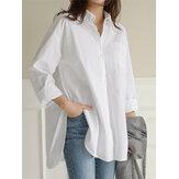 Женские повседневные повседневные свободные рубашки из хлопка с нестандартным подолом
