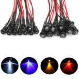 10Pcs 12V Flashing Pre-Wired LED Ultra Bright Water Clear Bulb With Plastic Shell