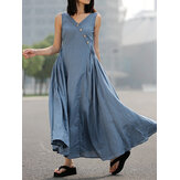 Women Casual V-neck Button Side Zipper Pleats Sleeveless Slim Maxi Dress