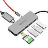 MantisTek® H3 7-In-One Type-C to USB 3.0 4K عرض PD شحن Hub TF SD بطاقة Reader