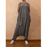 Vintage Femmes Casual Loose Sleeveless Round Neck Zips Back Jumpsuit