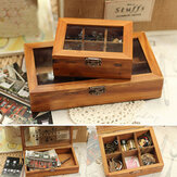 6 Grids Vintage Wood Wooden Jewelry Box Clear Cover Storage Organizer Craft
