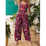 Women All Over Floral Print Double Pocket Retro Strappy Jumpsuits