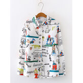 Cartoon Pattern Print Long Sleeve Daily Casual Personalized Shirts
