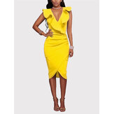 Yellow V-neck Irregular Hem Crossed Front Design Ruffle Midi Dress