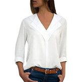 Mujer Blusa de gasa de manga larga con cuello en V color puro