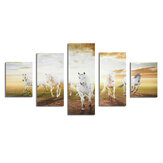 5Pcs Running Horses Canvas Paintings Wall Decorative Print Art Pictures Frameless Wall Hanging Decorations for Home Office