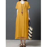 Women Solid Color Patchwork Round Neck Cotton Midi Dress With Pocket