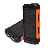 Solar Power Bank 12000mAh Dual USB Портативный Водонепроницаемы Солнечное зарядное устройство с 2 Светодиодный Встроенный компас