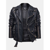 Mens Zip-Up Multi Pocket PU Biker Jacket