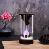 7 Color LED Changing Incense Burner Backflow Waterfall Smoke Censer Holder with Cones