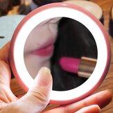 Cermin Rias Mini LED Menyala Portabel Bulat HD Cermin Kosmetik