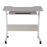 Mobile Rolling Computer Laptop Desk Bedside Workstation Height Adjustable Table Shelf
