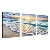 Beach Canvas Wall Art Sunset Ocean Ocean Ocean Wave 3 Panel Home Picture Decor Obrazy