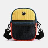 Hombro de costura de color de contraste de tendencia de moda retro de pana unisex Bolsa Crossbody Bolsa