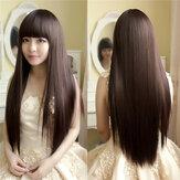 Urocza puszysta prosta peruka z wysokiej temperatury włókna naturalne długie włosy pełne peruki Strona 3 kolory słodkie