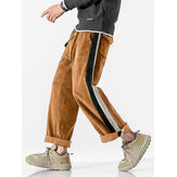 Corduroy Mens Poclet Side Stripe Drawstring Casual Straight Leg Pants