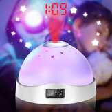 Mini 7 Colors LED Night Light Alarm Clock Time Projector Snooze Battery Powered