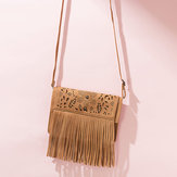 Tassel Hollow Phone Bag Solid Color Leisure Crossbody Bag