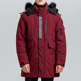 Mens Winter Mid Long Cotton Padded Thick Warm Jacket Parka