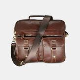 Męska skórzana torebka z wieloma kieszeniami Torba biznesowa Torba na ramię Torba na laptopa