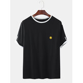 Mens Smile Embroidery Short Sleeve Casual T-Shirts