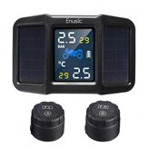 Enusic™ T400 Solar Power + USB TPMS Waterproof LCD Display Motorcycle Real Time Tire Pressure Monitor System Wireless WI External Sensor
