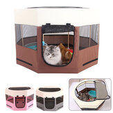 600D Large Space Pet Cat Dog Playpen Fence With Eight Panels Folding Oxford Cloth & Mesh Cat Nest Hunting Dog House Pet Tent